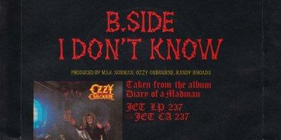 Back sleeve of Ozzy Osbourne's Over the Mountain single